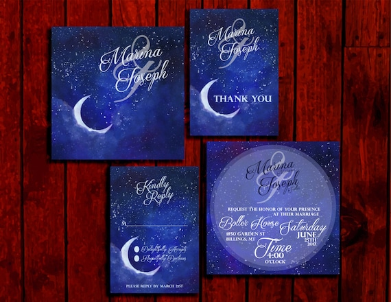Lunar Bliss Double Sided Wedding Invitation Suite Print Etsy