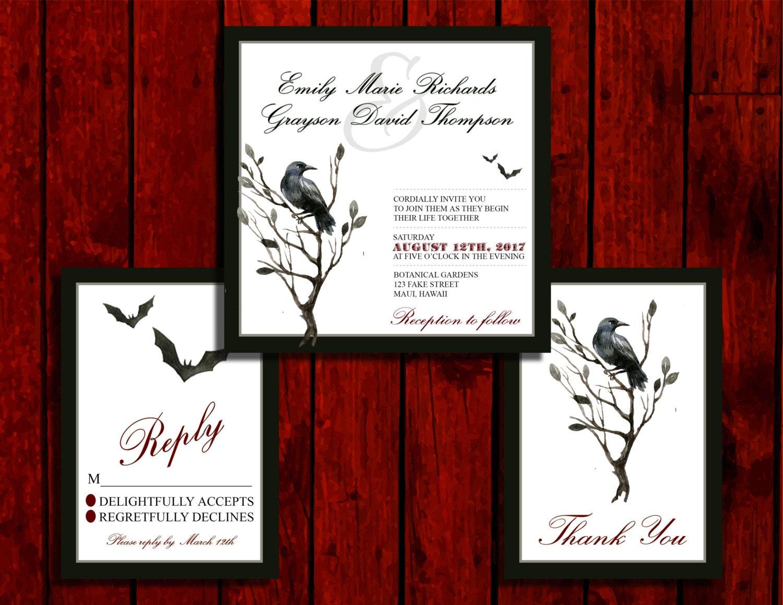 Raven Night: Wedding Invitation Suite Print at Home | Etsy