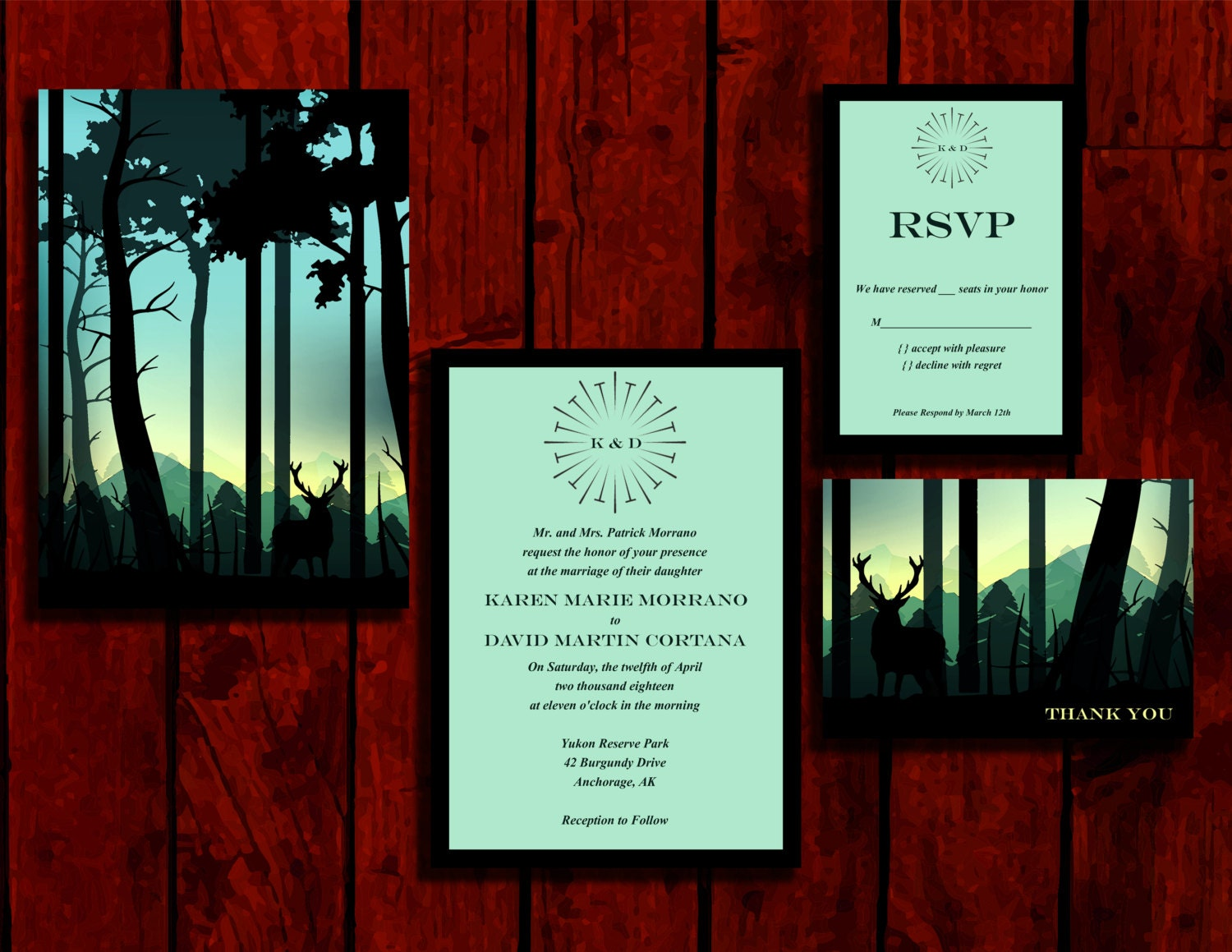 Into the Woods: Wedding Invitation Suite Print at Home | Etsy