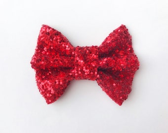 fba8993df339 MINI Ruby Red Glitter Bow, baby headband, baby hair clip, baby girl, girl  toddler, hair bow, red bow, toddler hair clip