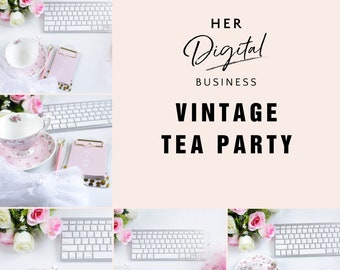 Vintage tea party Edition, Styled Stock Photography, Instagram post, blog posts, social media posts