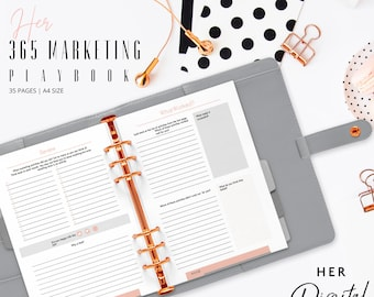 Her 365 Marketing Playbook for busy digital entrepreneur- Printable workbook - ready to print playbook - A4 size