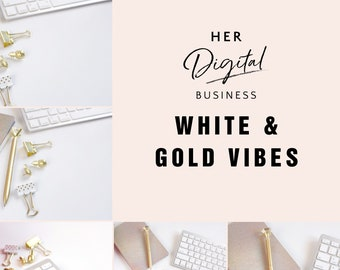 white and gold Lifestyle Styled Stock Photo / Product Mockup / 4 Styled Stock Photography