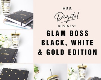 Glam Boss Black, White & Gold Edition, Styled Stock Photography, Instant Download , blog posts, social media posts