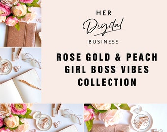 Rose gold & peach girl boss vibes collection, Styled Stock Photography, Instagram post, blog posts, social media posts