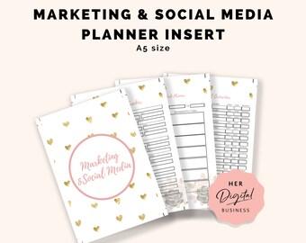 Marketing and Social Media -  Printable planner inserts - pink and gold planner inserts for bloggers/entrepreneurs - girl boss blog planner