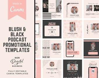 Podcast Instagram/Facebook Promo template Podcast Canva Instagram Podcast templates Podcast template editable Canva Podcast social media