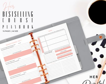 Her bestselling course playbook for busy digital entrepreneur- Printable workbook - ready to print playbook - A4 size