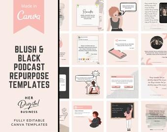 Podcast Repurpose Instagram/Facebook canva template Podcast Instagram Podcast templates Podcast template editable Canva Podcast social media