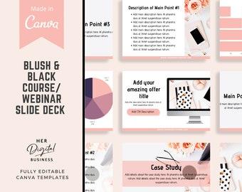 Blush & Black Course Webinar Slide Deck, Slidedeck template Canva, Slide deck, Webinar Template, Canva templates, course creators