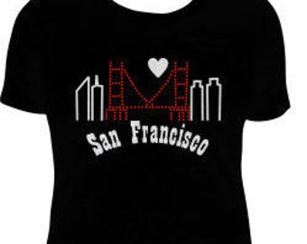 San Francisco Skyline Rhinestone and Glitter T-Shirt, I Left My Heart in San Francisco Skyline T-Shirt