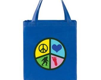Peace, Love and Bigfoot  YaYa Budget Shopper Tote Bag