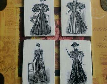 Set of 4 Victorian fashion mangets upcycled