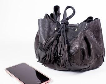 Black Circle Drawstring Bag in Deerskin Leather