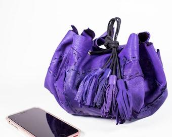 Purple Circle Drawstring Bag in Deerskin Leather