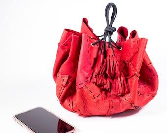 Red Circle Drawstring Bag in Deerskin Leather