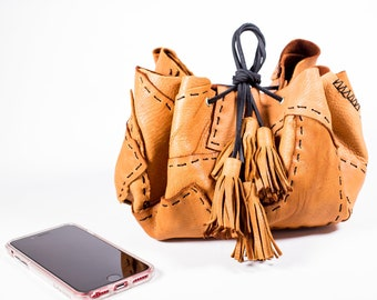 Tan Circle Drawstring Bag in Deerskin Leather