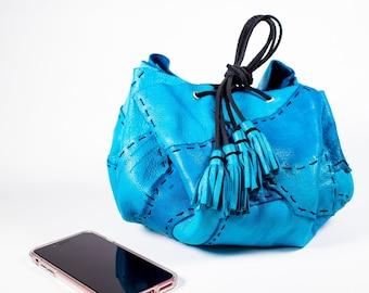 Turquoise Circle Drawstring Bag in Deerskin Leather