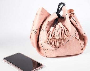 Pink Circle Drawstring Bag in Deerskin Leather