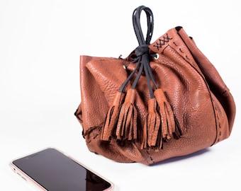 Brown Circle Patchwork Bag in Deerskin Leather