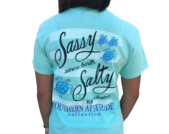 869b0aba0 Southern Attitude Sassy Since Birt Salty By Choice Sea Turtles Seafoam  Green Women's Short Sleeve Tee Shirt