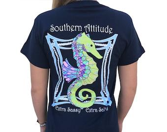 Southern Attitude Seahorse Little Sweet Little Salty Navy Blue Short Sleeve Unisex T Shirt, Southern Sea Horse Shirt, Ocean Themed Shirt