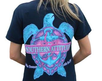 Southern Attitude Turtle Little Sweet Little Snappy Short Sleeve Unisex T Shirt