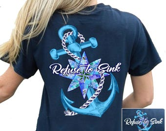 6d461f464317 Southern Attitude Refuse To Sink Anchor Navy Blue Women s Short Sleeve Tee  Shirt