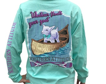 Southern Attitude Whatever Floats Your Goat Seafoam Green Women s Long  Sleeve Shirt 0fa212ac1e