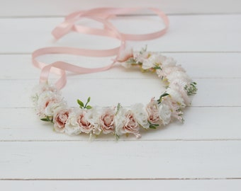 95279fcfdb0 Blush pink ivory rose flower crown Flower girl crown Flower hair wreath Wedding  flower crown Floral crown Flower halo Toddler flower crown