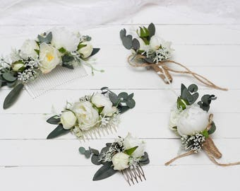 White boutonniere etsy white peony eucalyptus flower comb floral accessories wedding comb bridal headpiece boutonniere bridesmaid outdoor buttonhole flower girl mightylinksfo