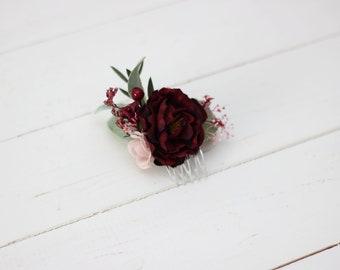 569506a2a215 Burgundy flower comb Pink floral headpiece Bridal hair comb Flower  accessories Bridesmaid Deep red Wedding hair piece Outdoor wedding