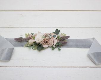 Blush pink wedding Velvet belt Bridal accessories Bridesmaid sash Floral belt Boho wedding Dress belt Flower girl sash Maternity belt