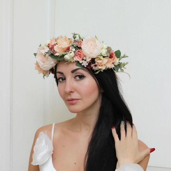 Boho wedding Flower halo Bridal crown Floral crown Wedding  76db3af2aa4