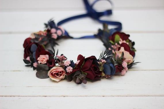 Burgundy Blush Pink Flower crown,Maroon flower crown,Boho Floral crown,Wedding flower crown,Flower girl crown,Bridesmaid crown