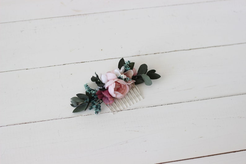 Blush pink flower comb Deep greenery Floral headpiece Bridal accessory Wedding hair piece Bridesmaid comb Eucalyptus Outdoor Hair flowers