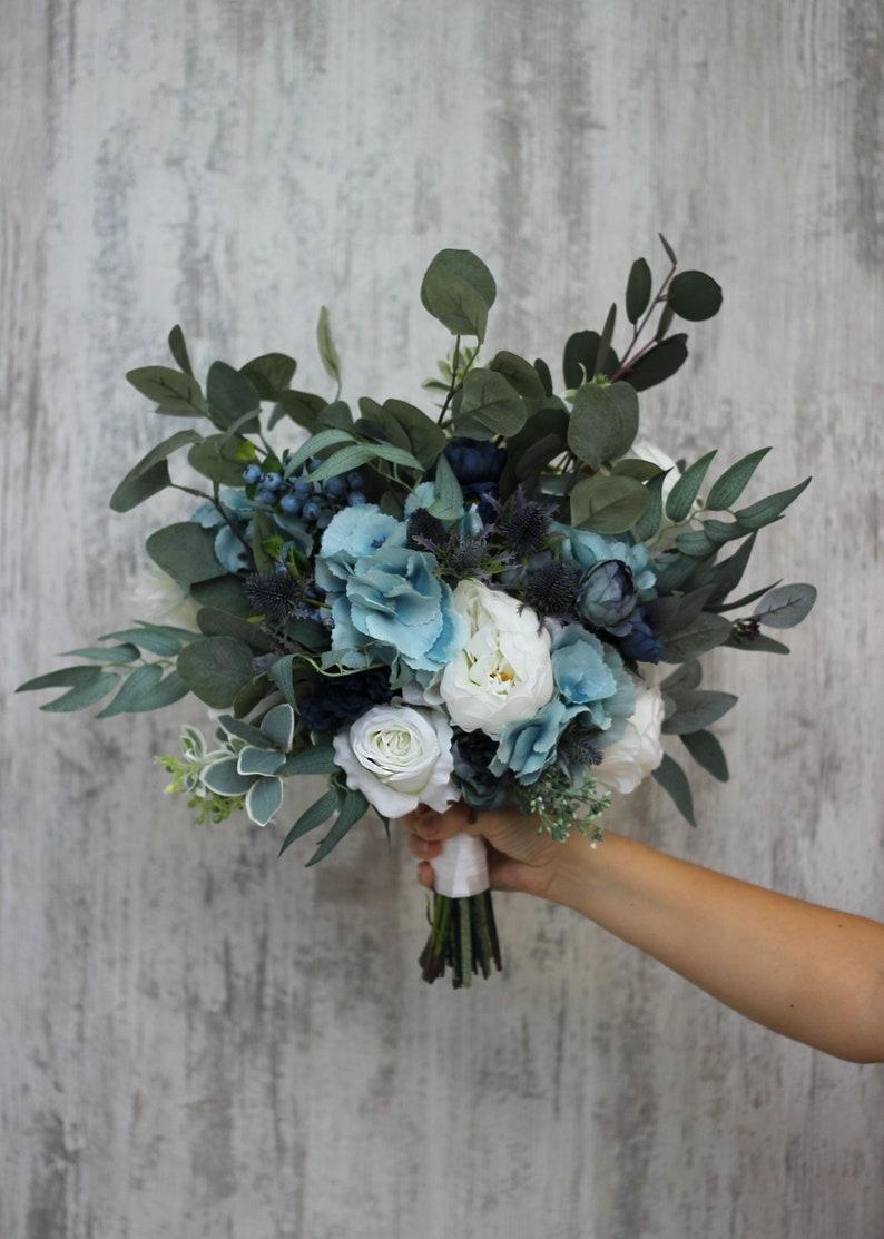 Dusty blue bridal bouquet Faux bouquet Velvet wedding Wedding image 0