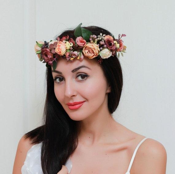Floral Krone Boho Hochzeit Braut Blume Krone Orange Braun Etsy