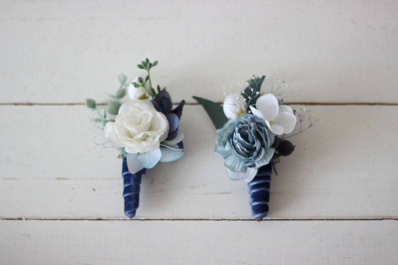 Navy Blue Wedding.Dusty Blue Boutonniere Navy Blue Wedding Accessories Men S Boutonniere Groom Groomsmen Buttonhole Wedding Flowers Fall Wedding Velvet