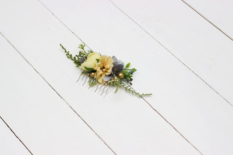 Pale blue yellow gold flower comb Hair flowers Bridal floral headpiece Wedding flowers Floral accessories Bridesmaid comb Outdoor Hairpiece