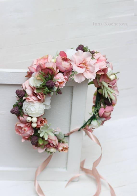 Rosa Weisse Blume Krone Pfingstrose Rose Blumenkrone Boho Etsy