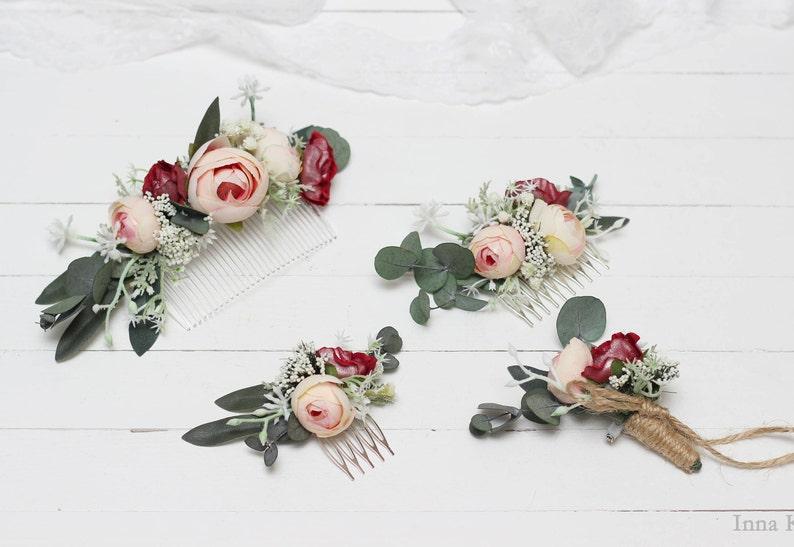 Blush pink burgundy eucalyptus flower comb Floral accessories image 1