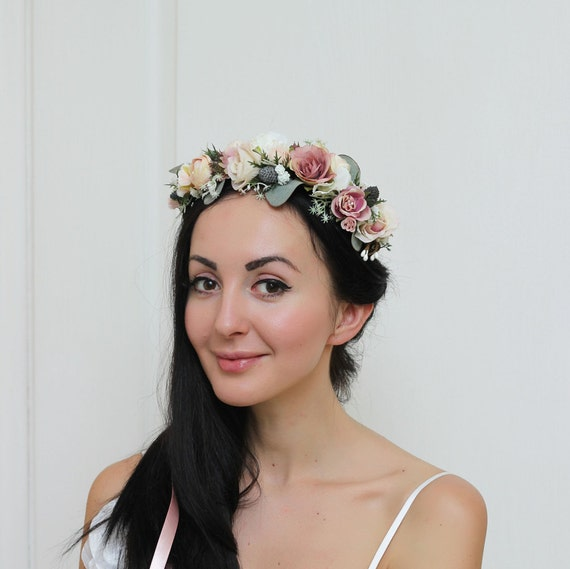 Ecru roses flower crown Ivory bridal Headband Weddings Roses and Eucalyptus Boho Headpiece Bridal crown