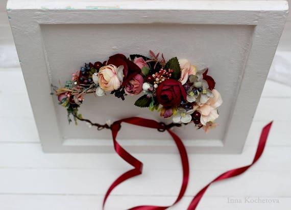 1052a1138 Burgundy beige flower crown Bridal hair wreath Woodland Wedding headpiece  Flower girl Bridesmaid crown Maternity photo .