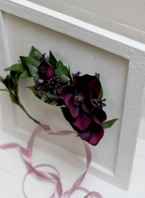 Dark Purple Flower Crown Greenery Floral Crown Wedding Hair Etsy