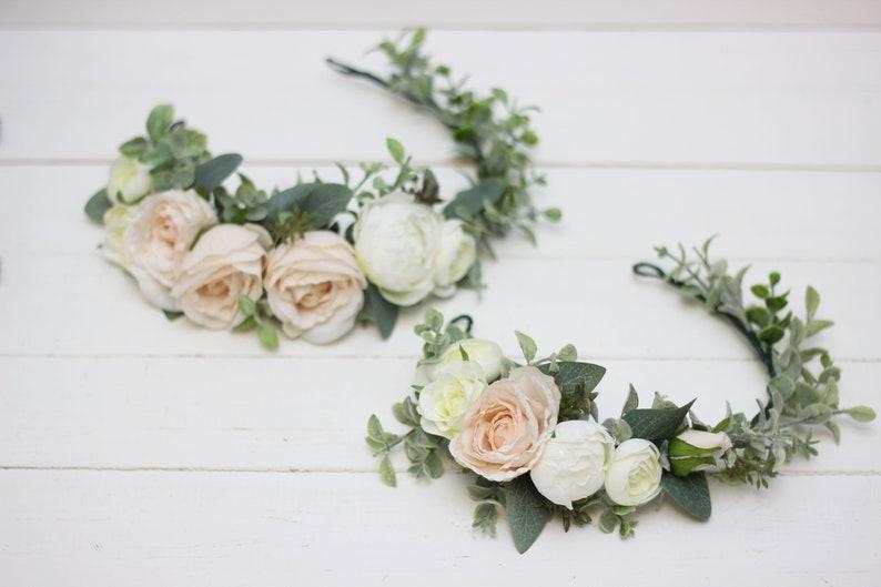 Baby crown Mommy and my Beige white eucalyptus flower crown Wedding hair wreath Bridal headpiece Boho Bridesmaid floral Leaves headband