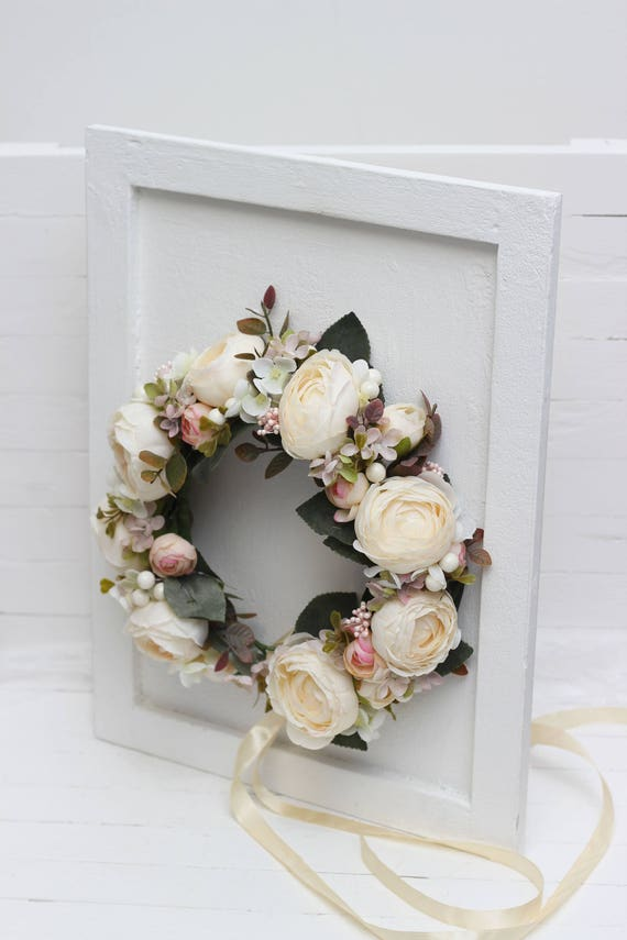 Beige Ivory Flower Crown Romantic Wedding Bridal Floral Headband Boho Wedding Hair Wreath Maternity Crown Bridesmaid Headpiaece Flower Halo