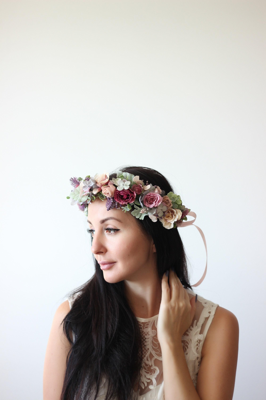 Lilac beige flower crown Romantic wedding Boho flower crown  1ec7564735c