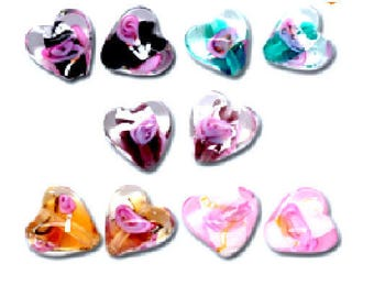 Set of 10 hearts 12 mm x 12 mm lampwork glass beads