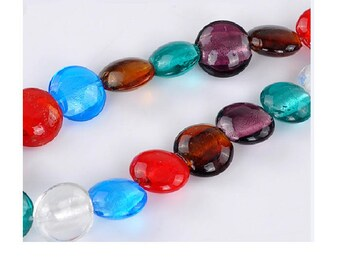 Set of 50 lampwork beads in mixed colors 20 mm x 9 mm